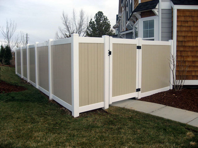 Tan Vinyl Fence Privacy